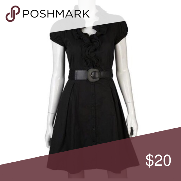 Black dress with pockets and belt