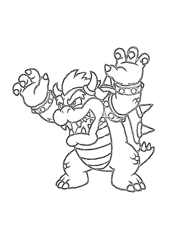 Super Mario Bowser Coloring Pages Print Super Mario Coloring