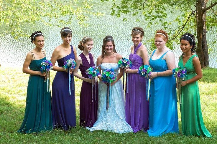 1a6360dc2df Jewel Toned Mismatched Bridesmaid Dresses