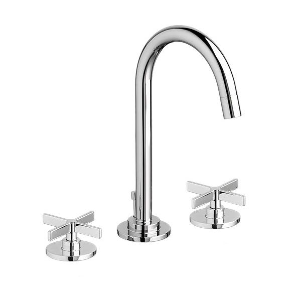 DXV Percy Widespread Bathroom Faucet With Cross Handles  Polished Chrome