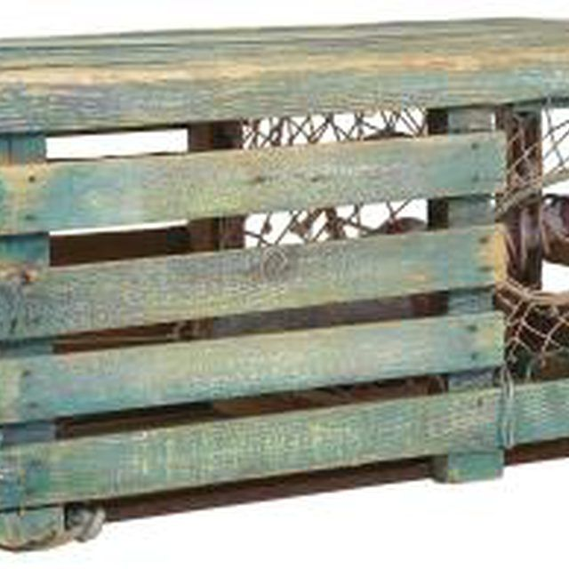 Nautical Coastal vintage lobster trap coffee table repurposed into