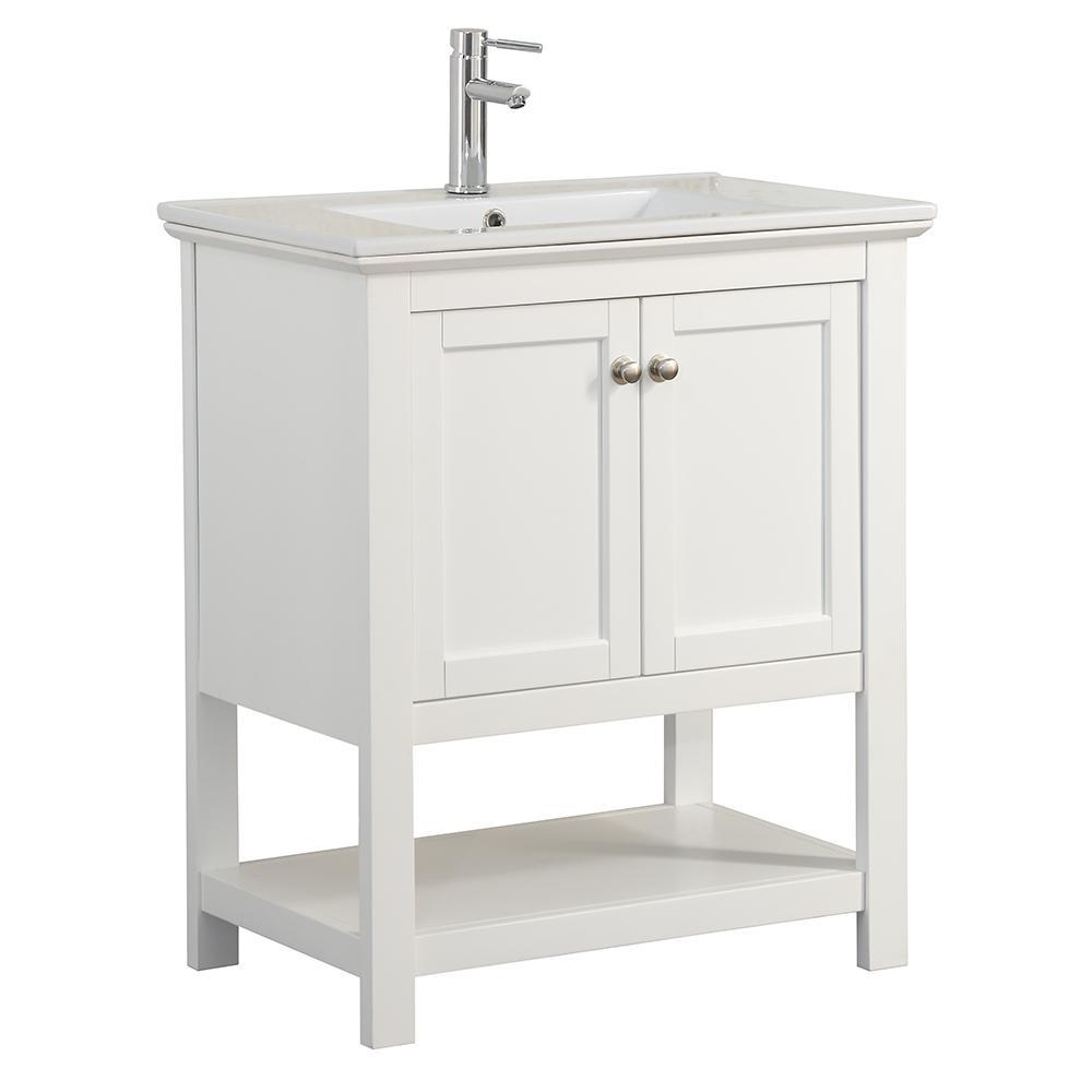 Fresca Bradford 30 In W Traditional Bathroom Vanity In White With Ceramic Vanity Top In Traditional Bathroom Vanity Traditional Bathroom White Vanity Bathroom