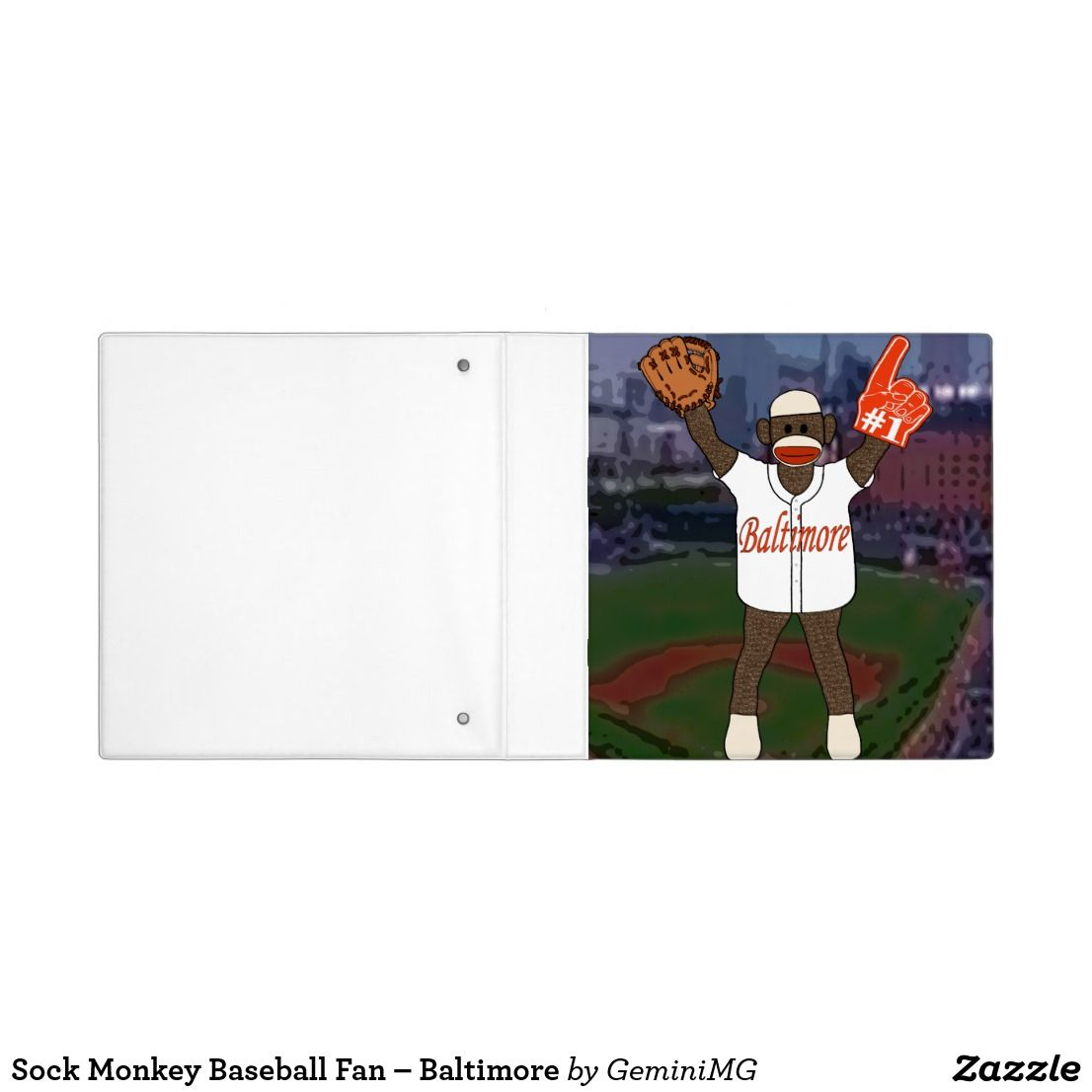 Sock Monkey Baseball Fan – Baltimore 3 Ring Binder | Zazzle.com #sockmoneky