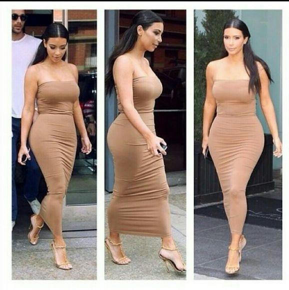 Suede strapless midi bodycon dress Kim Kardashian