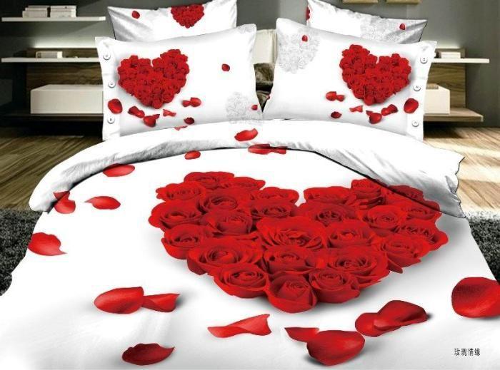 3d Red Rose Petals Comforter Covers Queen Size 4pcs Floral Print