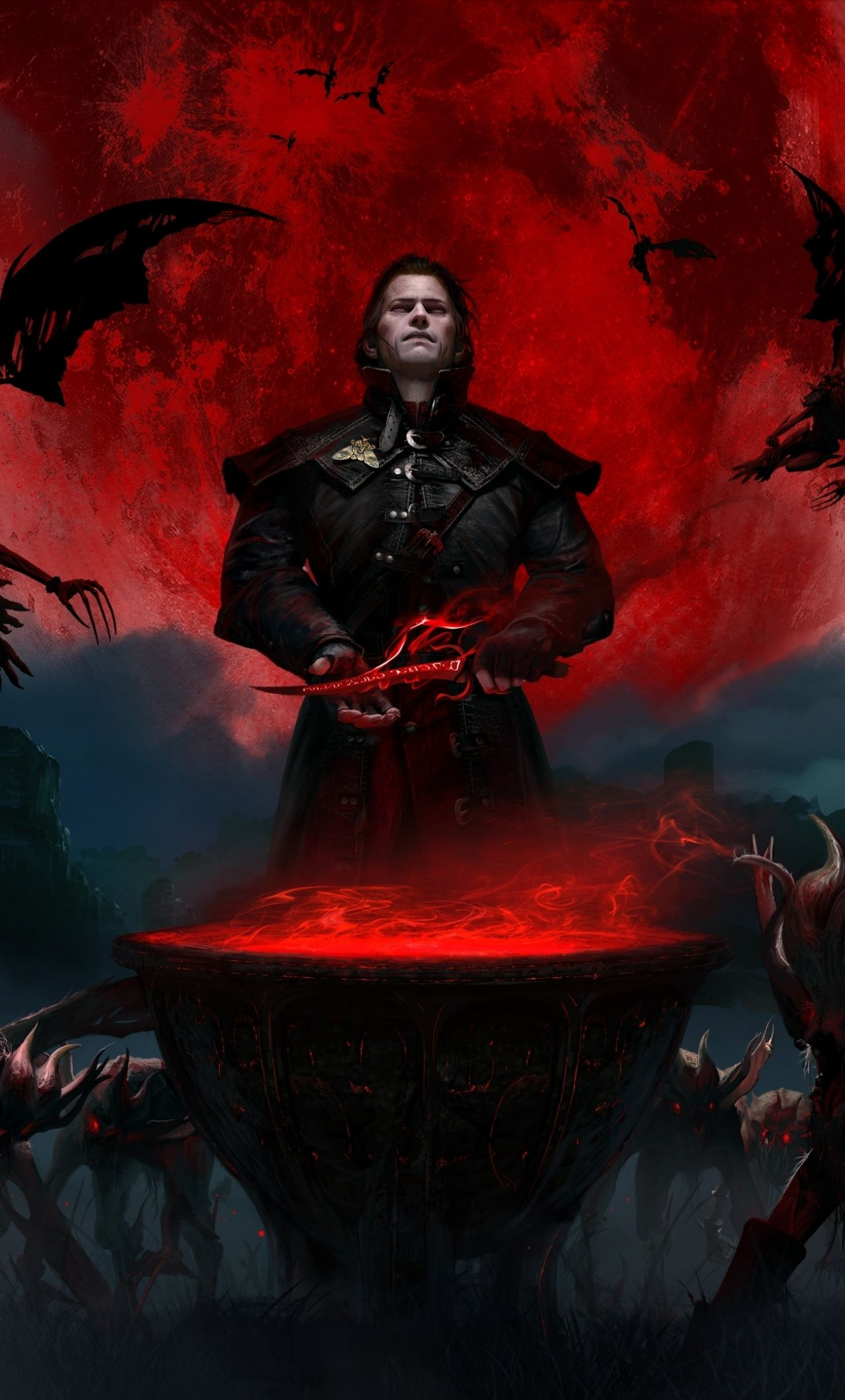 1280x2120 2019 Red Moon And Monsters Gwent The Witcher Card Game Video Game Wallpaper The Witcher Witcher Art Witcher Monsters