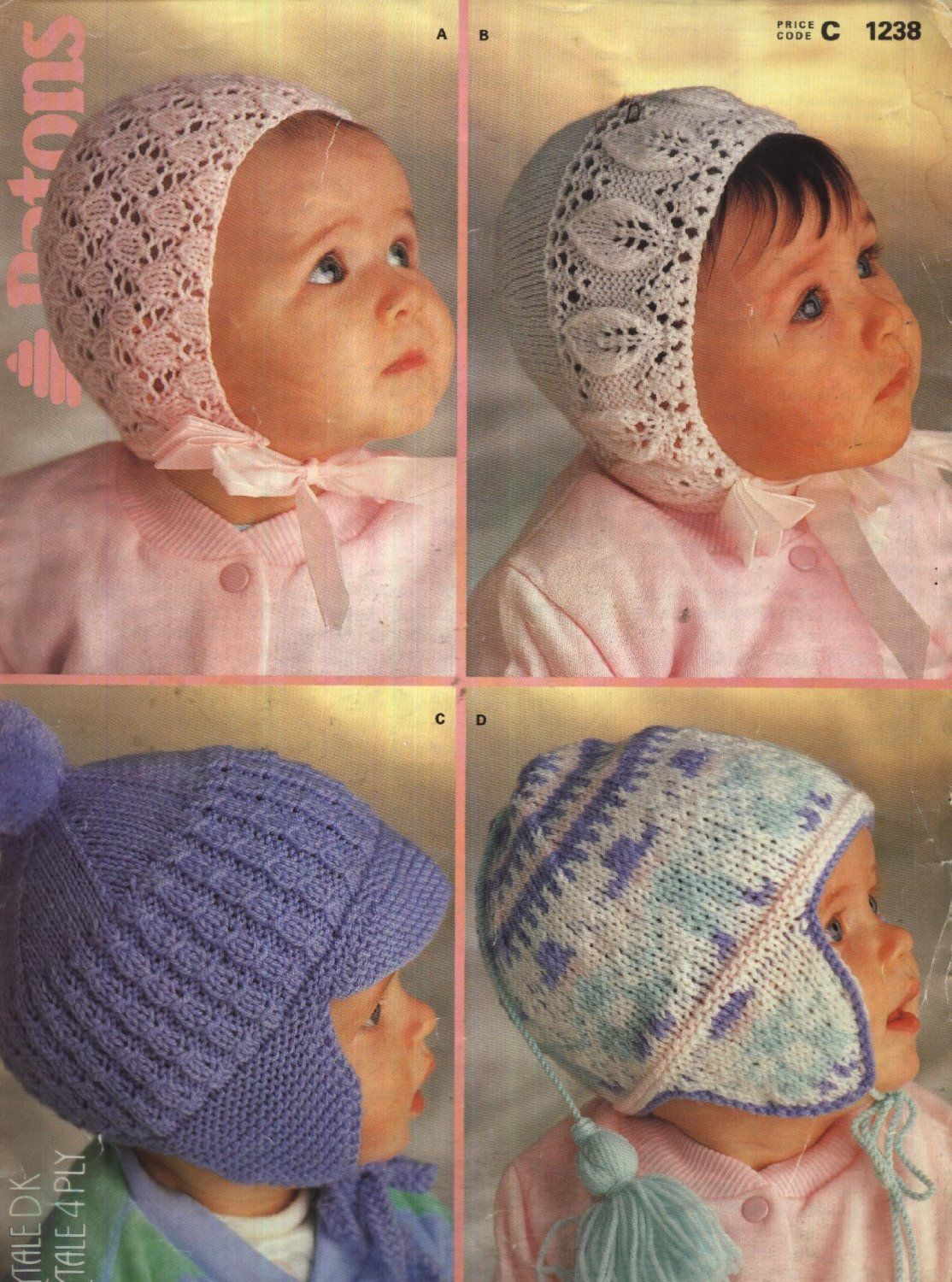 3a5a4acaf2c8 Patons Knitting Pattern 1238   Four Baby Bonnets and Helmets 0-15 ...