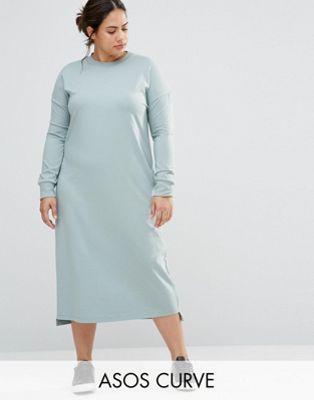 dd4aa638aa4 ASOS CURVE Casual Column Midi Dress With Long Sleeve