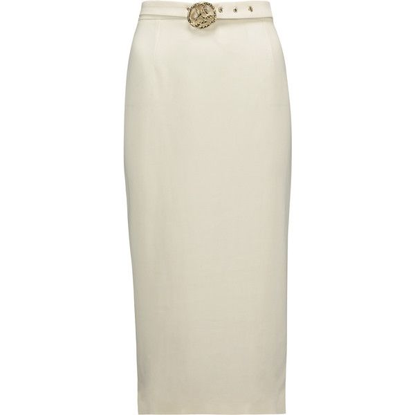 Just Cavalli - Belted Stretch-crepe Pencil Skirt ($207) ❤ liked on Polyvore featuring skirts, white, print skirt, patterned skirts, belted skirts, print pencil skirt and white skirt