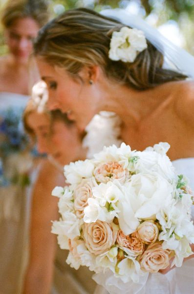 Blush roses, freesia, white peonies wedding bouquet