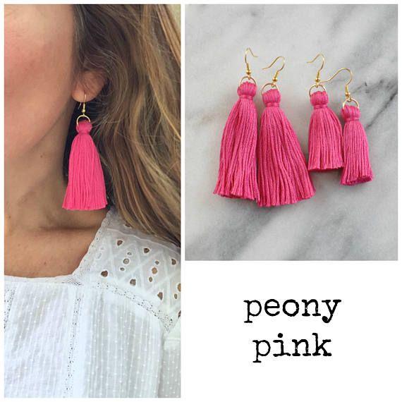 01d797558 Long Pink Tassel Earrings, Mini Tassel Earrings, Hot Pink Tassel Earrings,  Best Gifts For Her, Boho