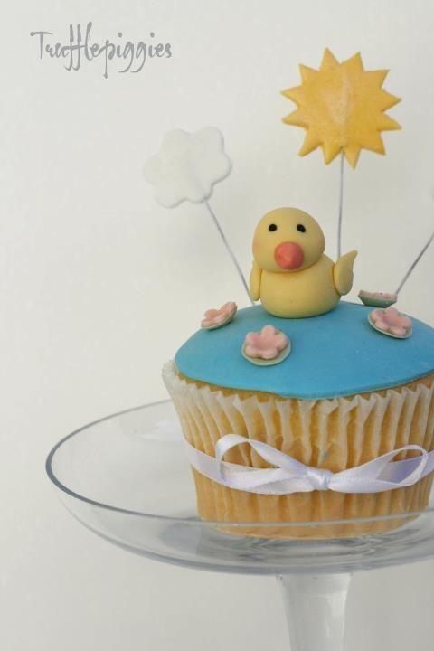 Farm cupcake, duck, sun,cloud, ribbon