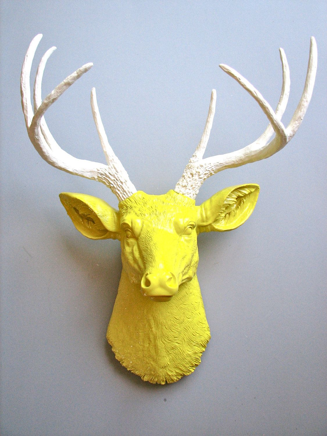 Faux Taxidermy Deer Head wall mount in yellow with white antlers ...