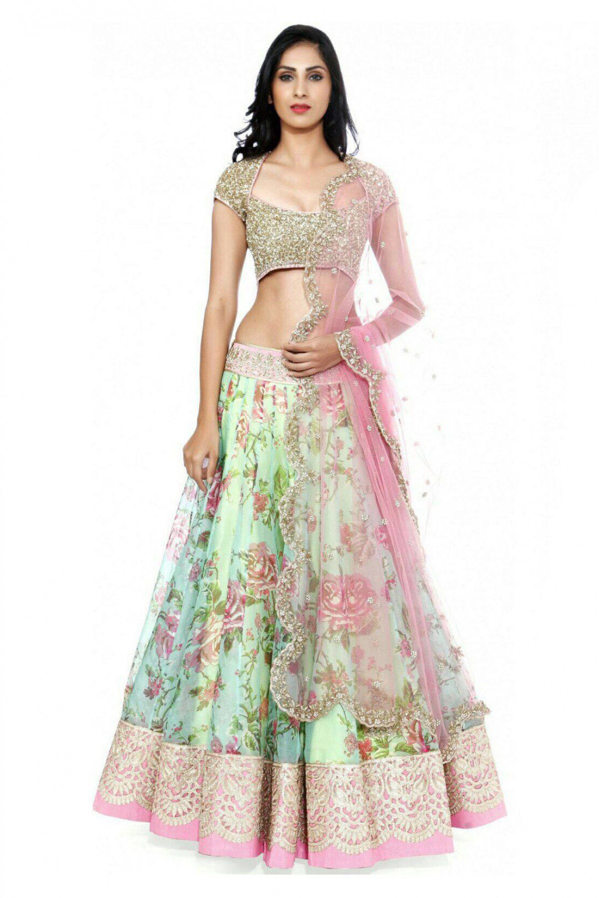 60d70ef885 Anushree Reddy floral gota patti and embroidery lehenga! Follow The Wedding  Ensemble for bridal styling and inspirations... www.theweddingensemble.com