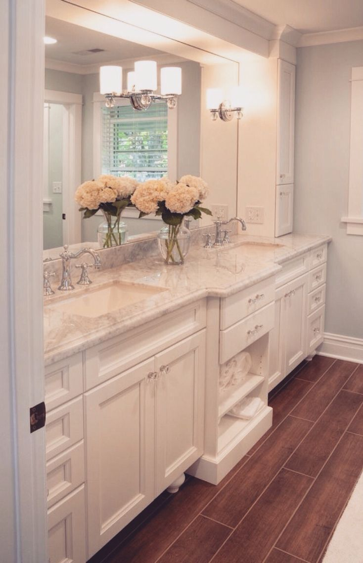 I D Have The Wood Floors Be A Reddish Brown Color Classic White Bathrooms