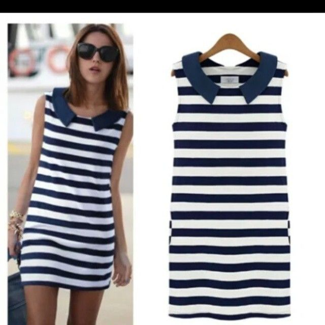 #stripe #navyblue #sleeveless #dress #fashion #party #fabstoree  DM for details by _fabstoree