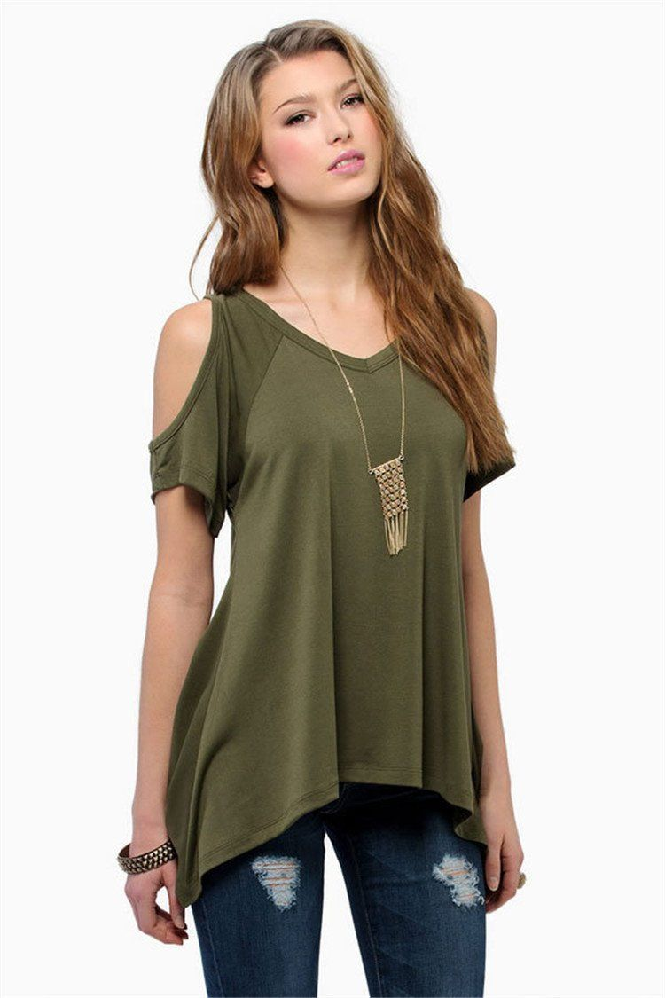 74f8404762cb5 Loose Round Collar Off Shoulder Irregular Short Sleeve T-shirt