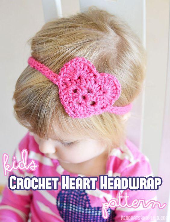 Kid\'s Crochet Heart Headwrap   Tejido, Ganchillo y Tejidos con gancho