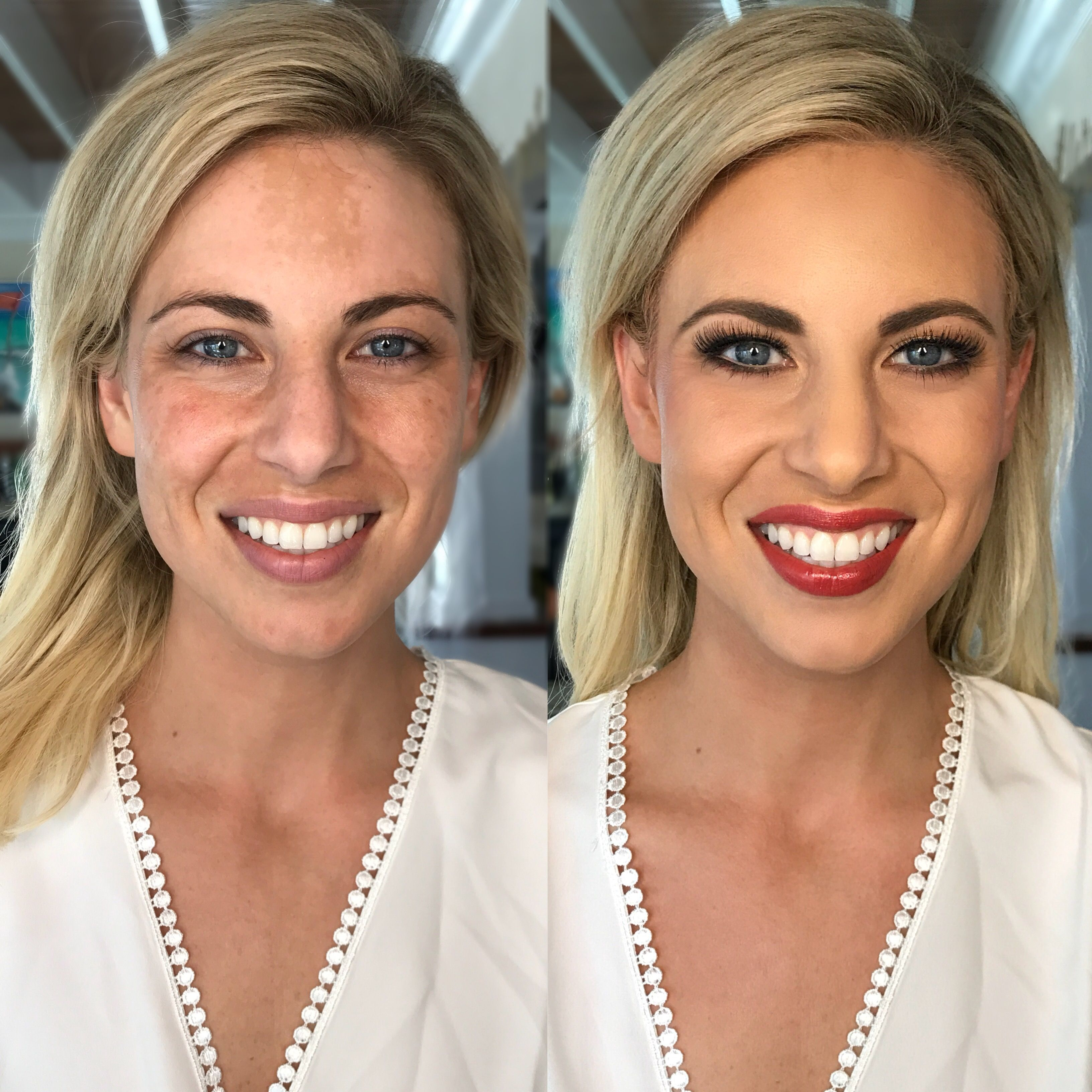 Before and after airbrush color correction makeup vitiligo