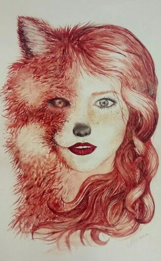 #fox #twoface #face #girl #redlips #redhair #redhead #ginger #coffeepainting #foodcolouring #tea