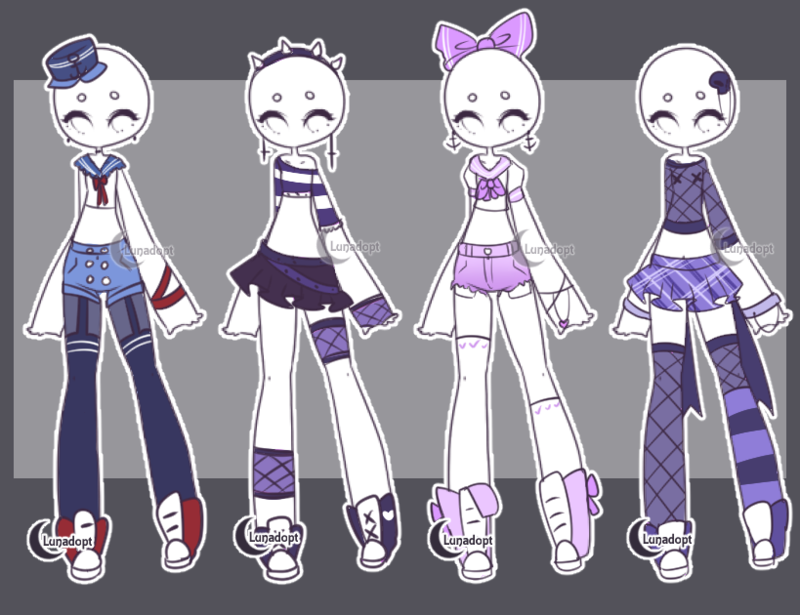 SET 8 Gacha outfits by Lunadopt on DeviantArt Outfit