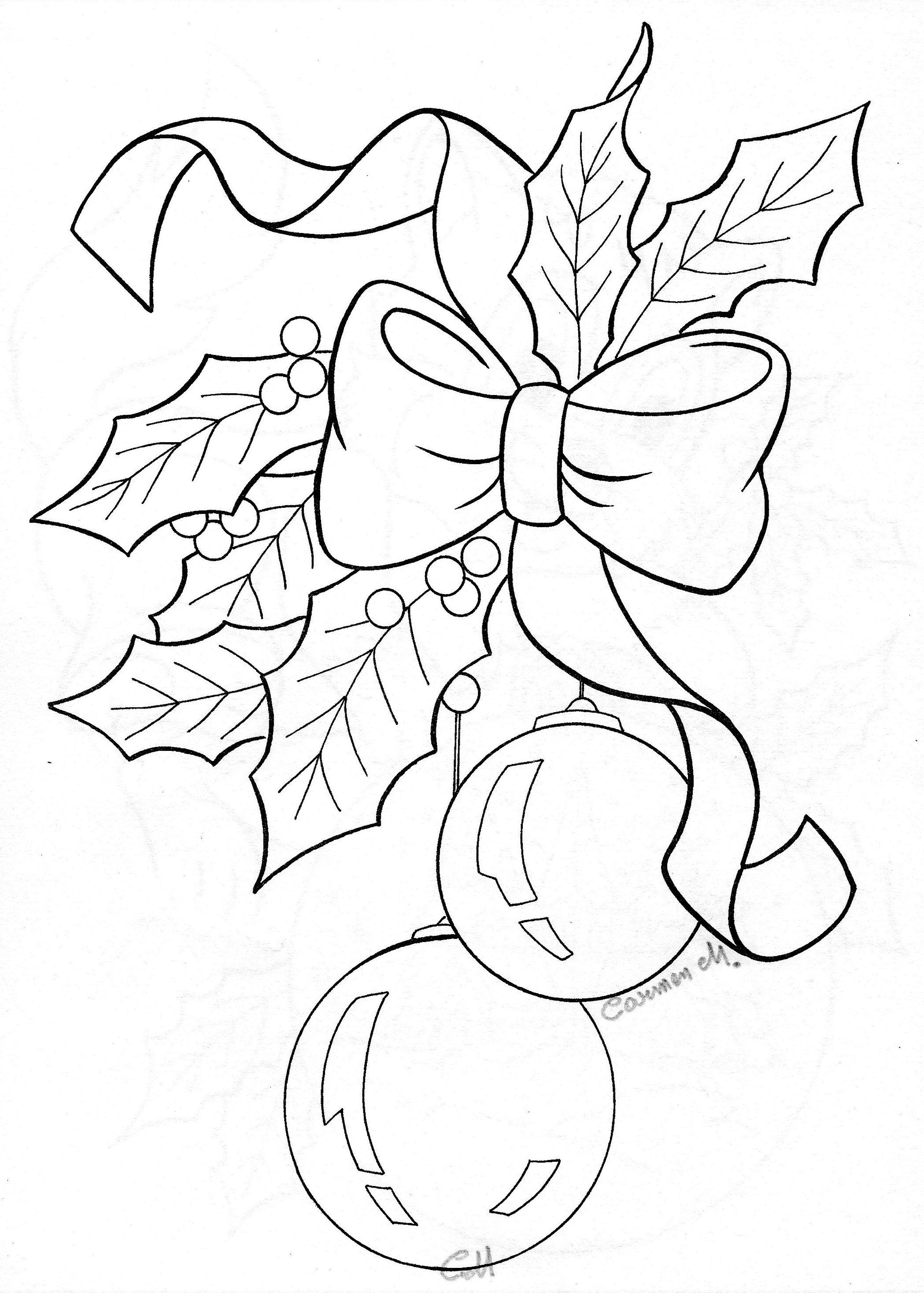 Bow Holly Ornaments Sketch Coloring Collections Pinterest