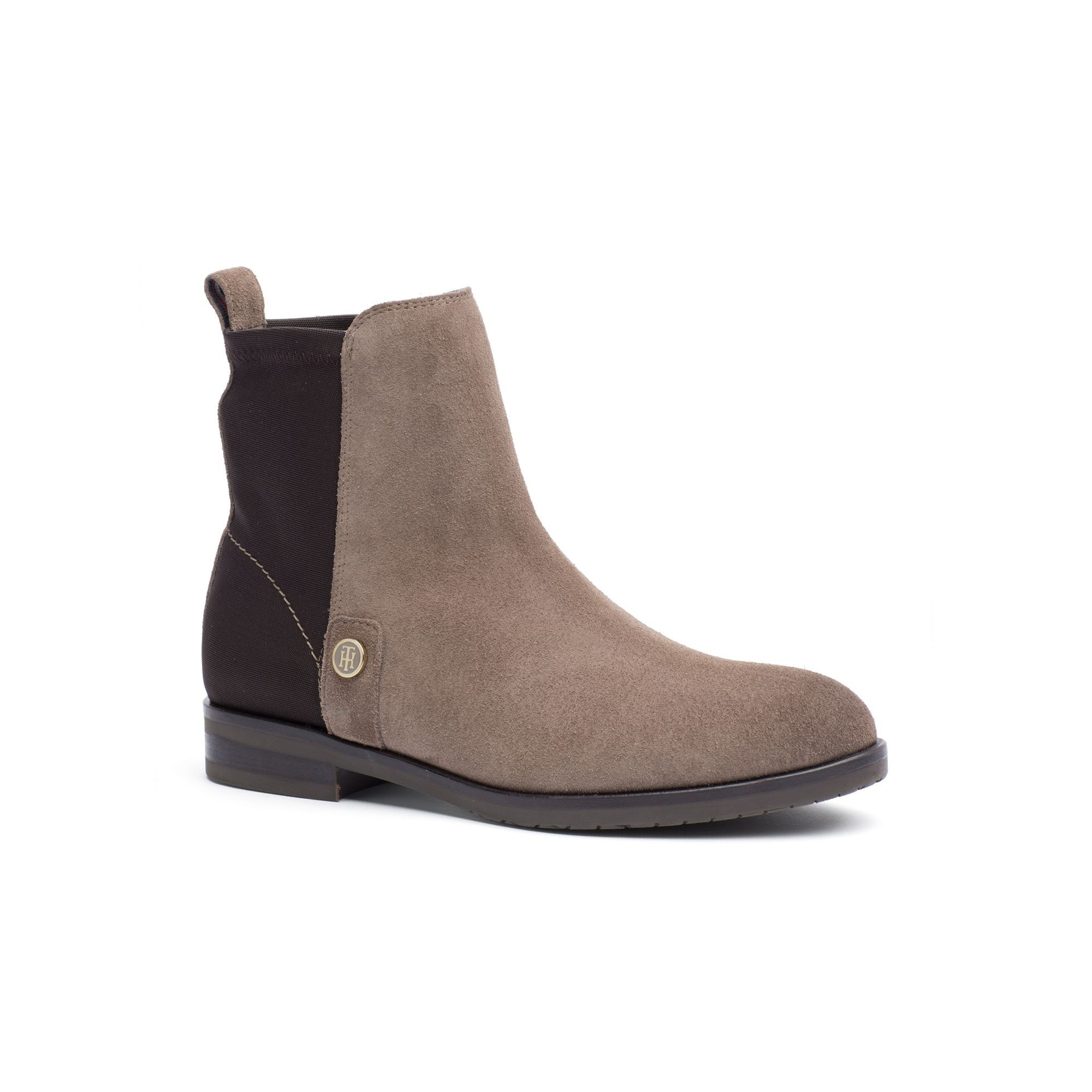 TOMMY HILFIGER MIXED SUEDE ANKLE BOOT - MINK.  tommyhilfiger  shoes   84ca2099a711