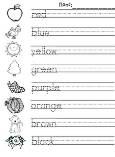 Color words practice I wonder if I could make a mini picture dictionary for them so that they could look up words for writing activities