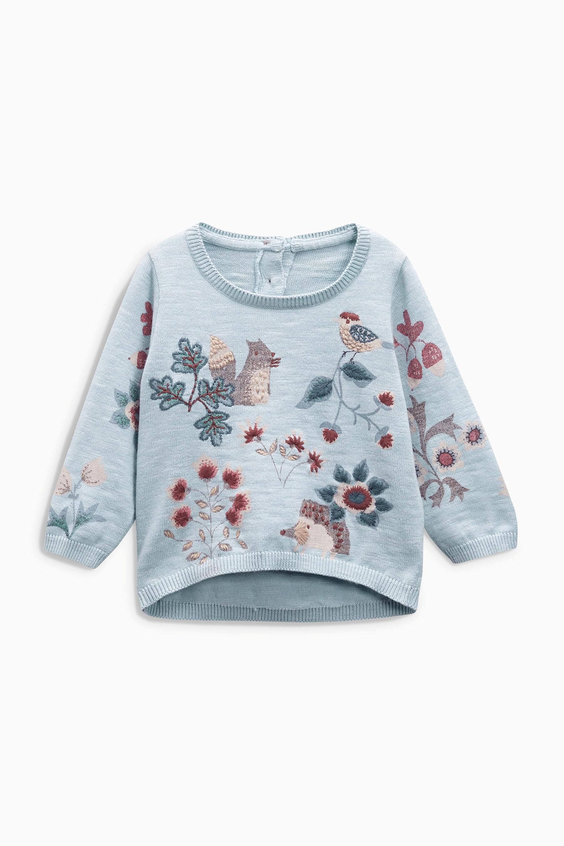 Buy Blue Printed Woodland Jumper (3mths6yrs) from the