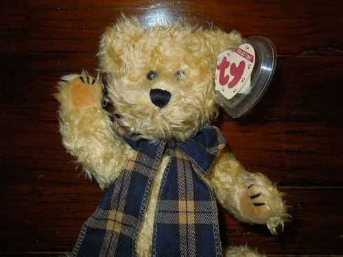 "$32.87 free shipping BEARINGTON Bear stuffed plush Teddy by TY Attic Treasures Large 16"" plaid scarf"