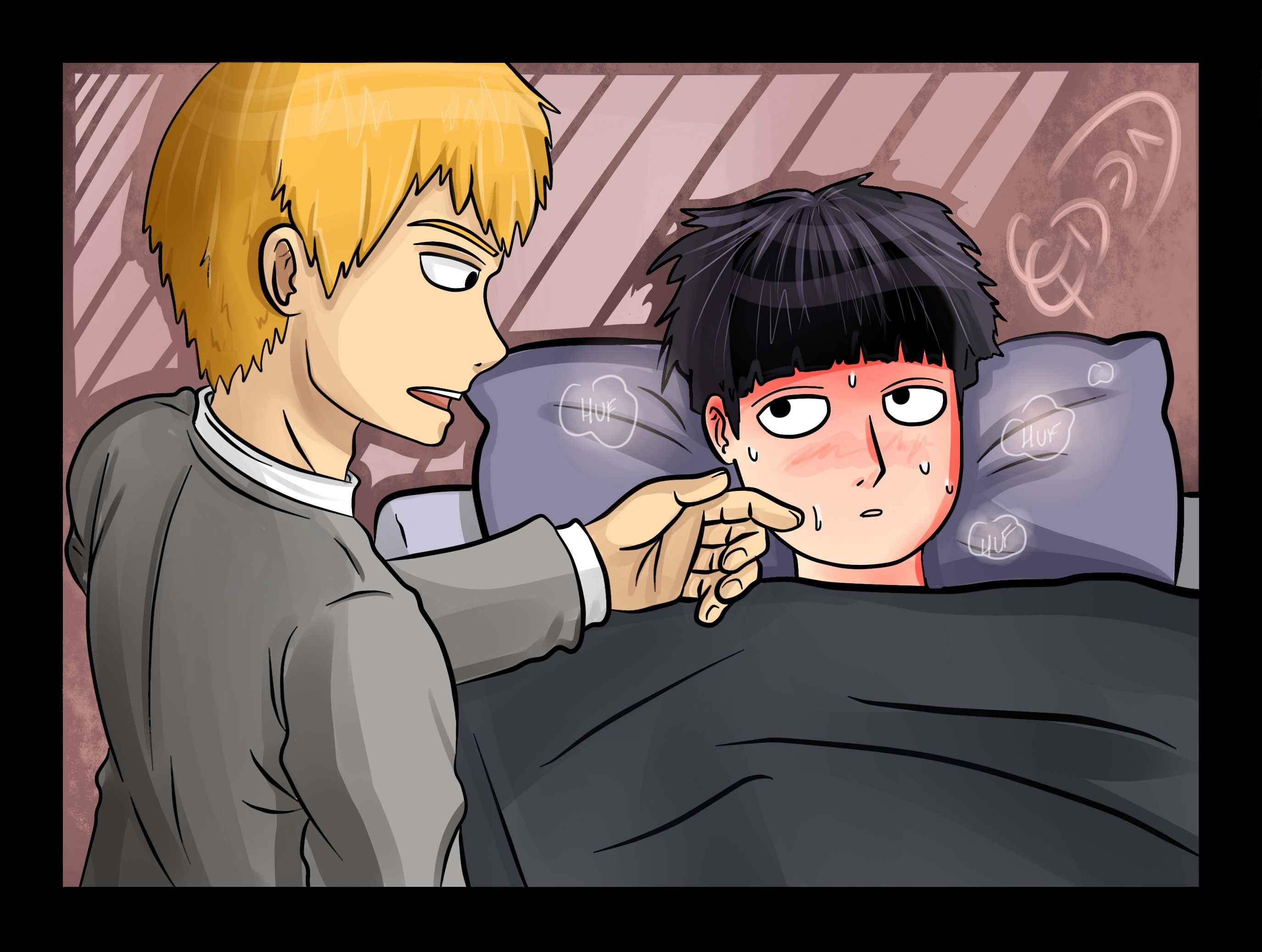 Mob has a Fever!! Shigeo is sick with a fever, so Reigen to