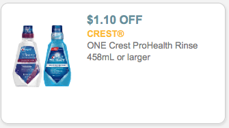 Crest ProHealth Rinse Coupon Off $1.10