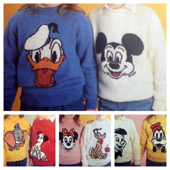 Vintage Pattern Disney Characters Jumpers Adults And Childrens