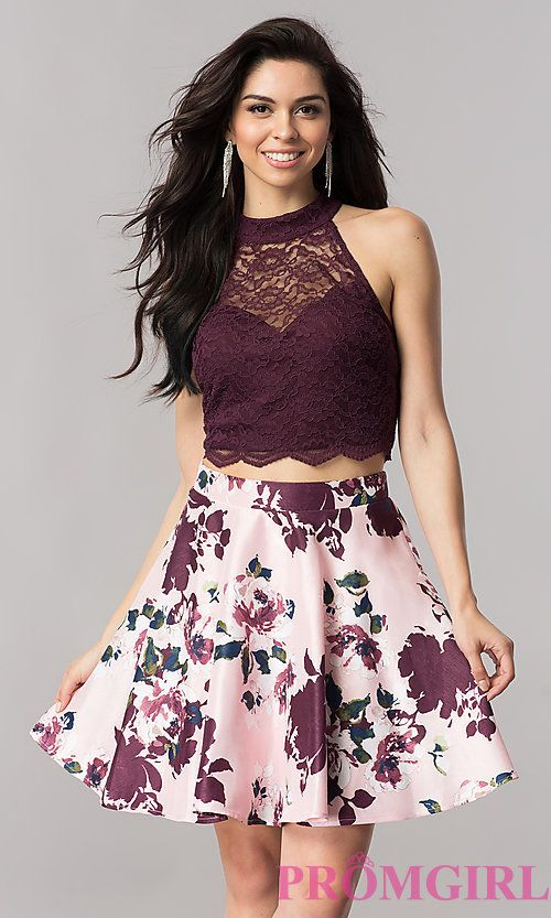 Image of short two-piece homecoming dress with print skirt. Style ...