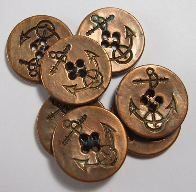 rare 7 COPPER COVERED ANCHOR BUTTONS US MILITARY NAVAL BUTTONS 1 1/8