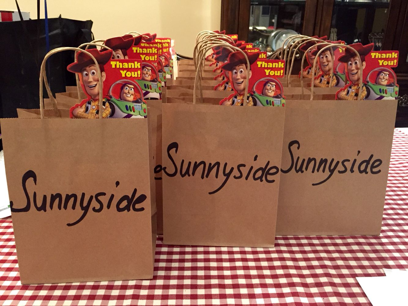 Toy Story Roundup Loot Bags Sunnyside Donation Boxes Party In