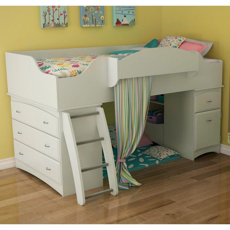 South Shore Logik 4 Piece Pure White Twin Kids Bedroom Set: Imagine Low Loft Bed - Pure White