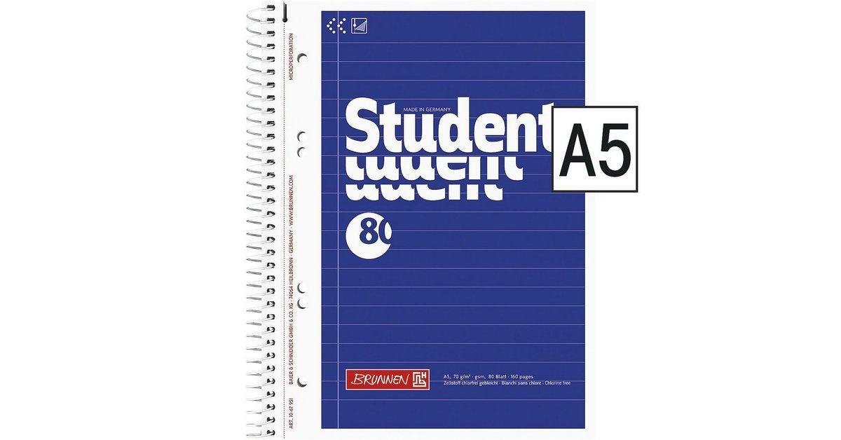Brunnen Collegeblock A5 Liniert Holzfreies Papier Aqua Pro