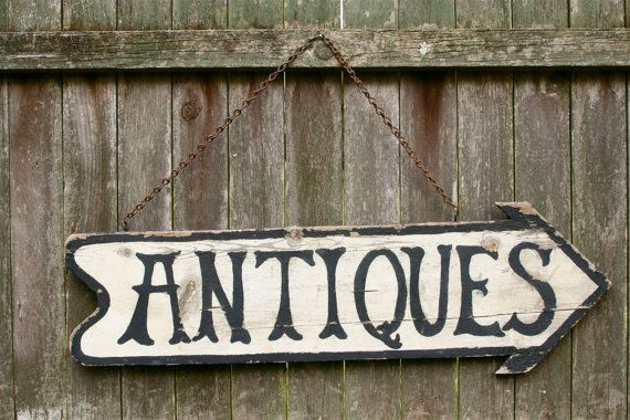 Folk Art Wooden Handpainted ANTIQUES Store Sign Display by MRCG, $82.00