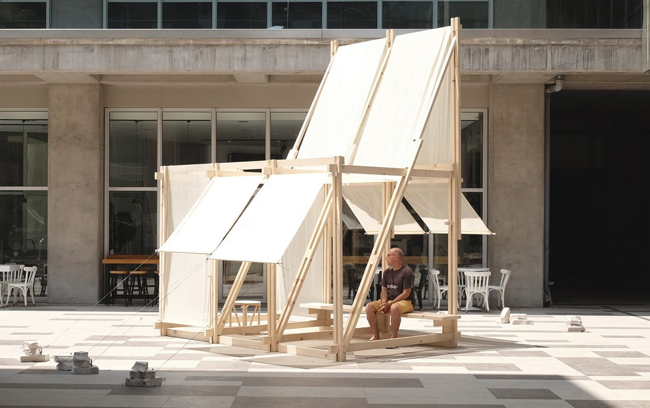 During a five-day workshop students worked together to design and build a spatial installation they named Geçit.