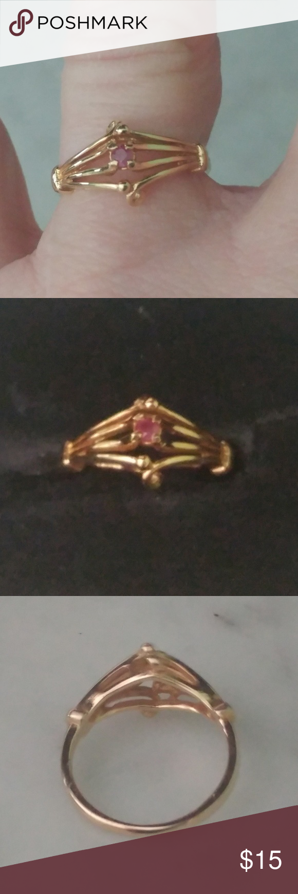 18k Hge Espo Pink Gem Ring Size 7 18k Hge Espo Pink Gem Ring Size 7 Designed By Joseph Esposito Marked Euc Jewelry Rings Pink Gem Ring Gem Ring Pink Gem