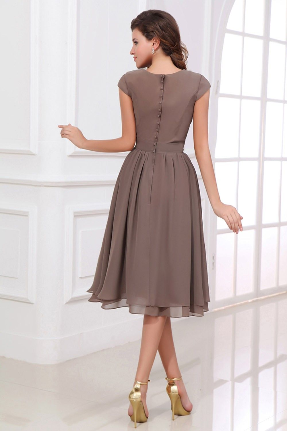 Chiffon bateau mother of bride dress with short sleeves mob
