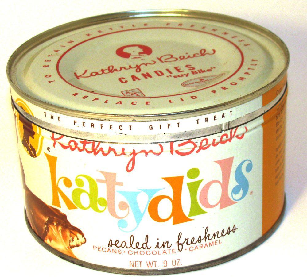 vintage kathryn beich katydids pecans chocolate caramel candy tin