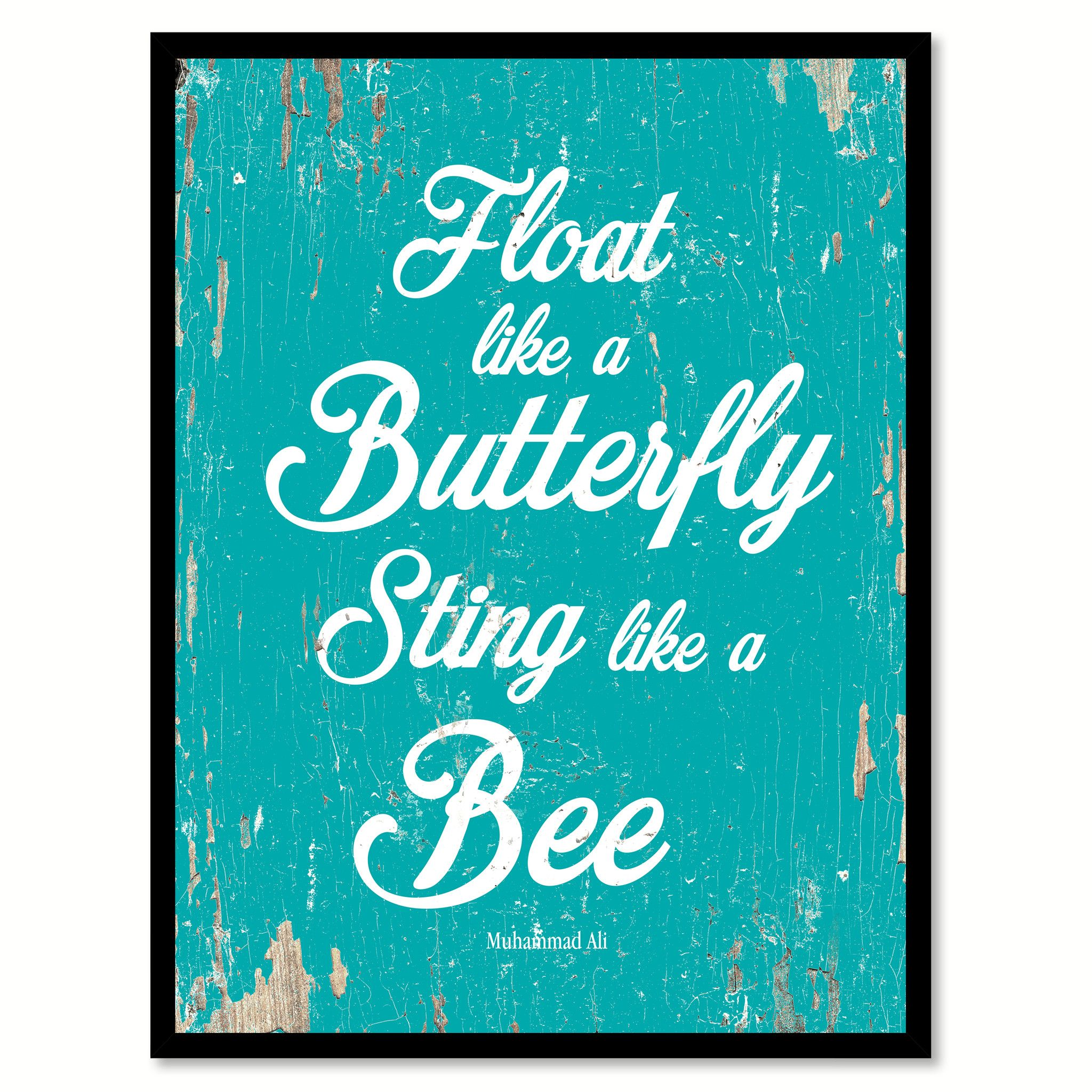 MUHAMMAD ALI FLOAT LIKE A BUTTERFLY STING LIKE A BEE PHOTO ON FRAMED CANVAS ART Art
