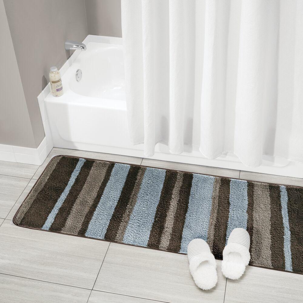 Microfiber Bath Mat Striped Bathroom Rug 60 X 21 In Gray Yellow