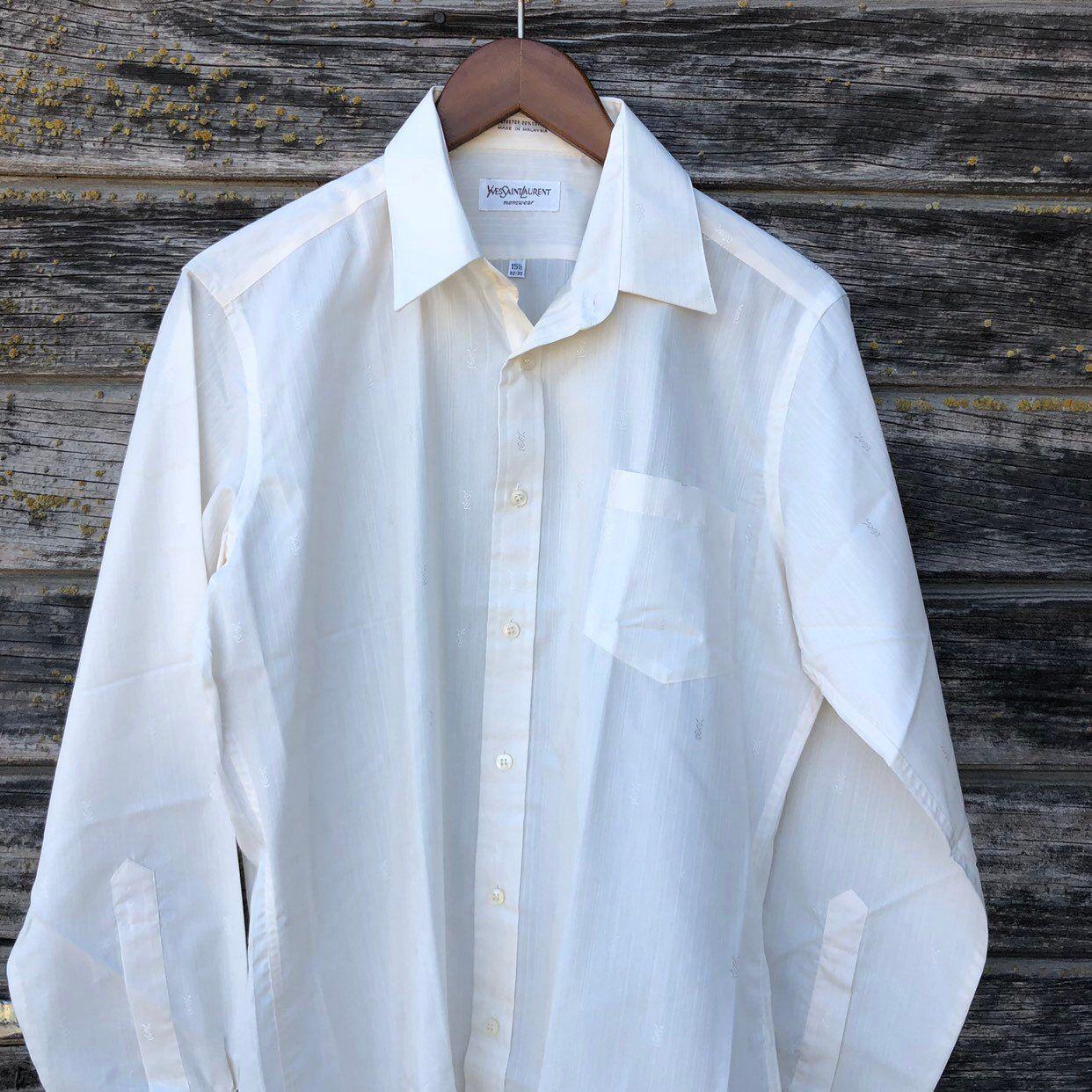 Vintage Ysl Shirt M Yves Saint Laurent Long Sleeve Dress Shirt Etsy Long Sleeve Shirt Dress Long Sleeve Shirt Men Shirts