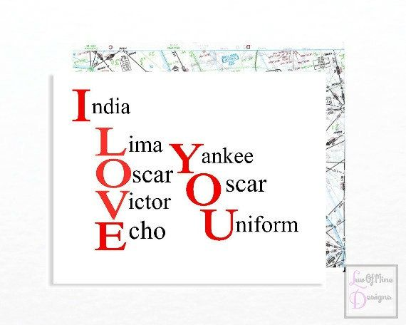 I Love You Card, Valentines Day Card, Phonetic Alphabet, Aviation