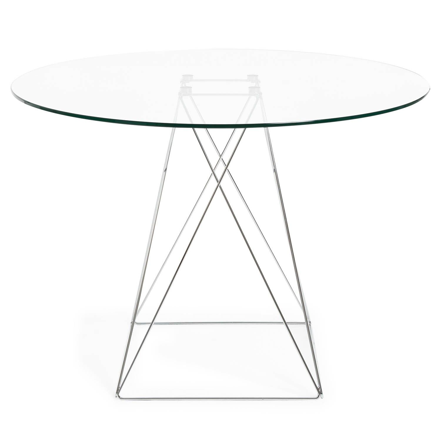 Crafted In Italy A Modern Vision Is Rendered In Tempered Glass And A Chromed Glass Round Dining Table Round Dining Table Table [ 1500 x 1500 Pixel ]
