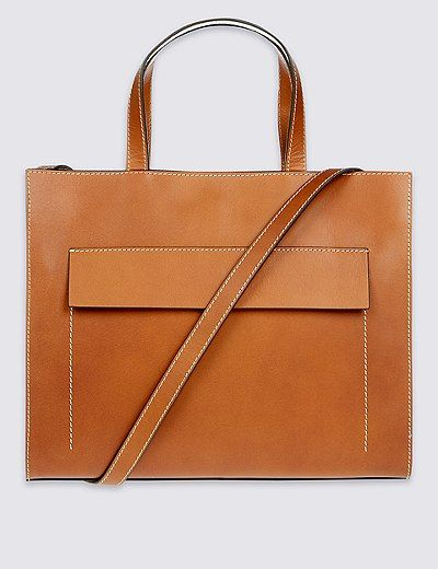 741eac3e9156 Leather Contrast Stitch Tote Bag | Marks & Spencer London | M&S | Mode