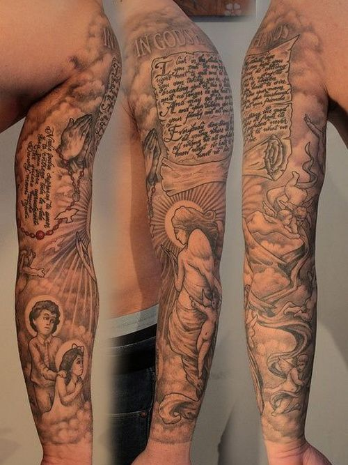 Religious Arm Sleeve Tattoos | sleeve tattoo ideas ...